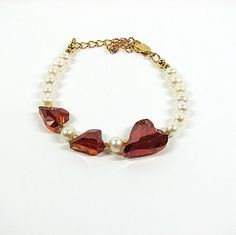 Romantic and feminine red crystal heart bracelet...perfect for Valentine's Day.