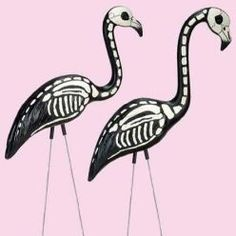 hey Mama!!!!!!    These will be in my graveyard this fall!!!!!    Repurpose your pink yard bird for All Hallows Eve. Skelamingos