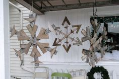 DIY snowflakes made from repurposed pallets.