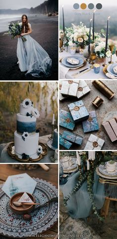 Artistic Moody Dusty Blue and Copper Seaside Wedding Color Schemes