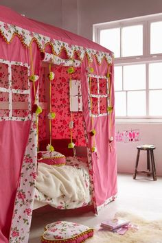 Cute Girls Canopy Bed As Your Best Sleeping Mat: Pink Kids Canopy Bed Girls ~ Bedroom Inspiration Girls Canopy, Girls Bedroom, Diy Bedroom, Bedroom Ideas, Bedroom Inspiration, Ikea Kura Bed, Bed Tent, Canopy Beds, Bunk Beds