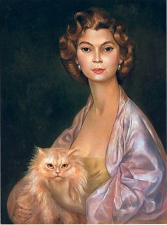 self portrait with her cat | Leonor Fini - Art Curator & Art Adviser. I am targeting the most exceptional art! Catalog @ http://www.BusaccaGallery.com
