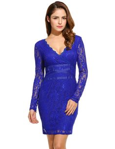 Blue New Women Sexy V-Neck Long Sleeve Waistband Floral Lace Cocktail Party Dresses