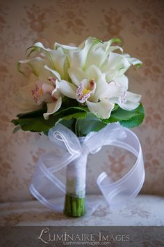 White lily & orchid bridal bouquet