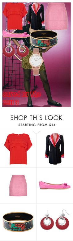 """""""Saved By The Bell 3"""" by oroartye-1 on Polyvore featuring Warehouse, ESCADA, Salvatore Ferragamo, Hermès, Larsson & Jennings, television and wearwhatyouwatch"""