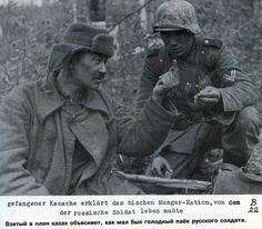 Kazakh soldier's explaining to German soldier about their condition during the WW II