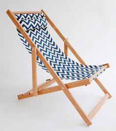 Huron Deck Chair, sling chair, handmade outdoor furniture - need to find a wood chair like this at goodwill and change out the fabric.