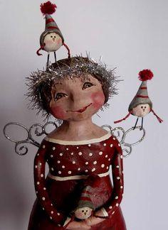 BOY HOWDIE PAPIER MACHE FOLK ART by Dawn Tubbs Christmas Characters, Xmas, Christmas Ornaments, Art Dolls, Dawn, Folk Art, Snowman, Whimsical, Projects To Try