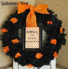 gallamore west: Halloween Burlap & Chevron Wreath