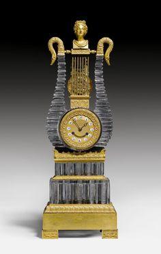 "Paris 1830/35 LYRA CLOCK ""AUX CYGNES"", Charles X/Restoration, the case attributable to the workshop MADAME DESARNAUD A L'ESCALIER DE CRISTAL (active from 1830 onwards), Paris ca. 1830/35."