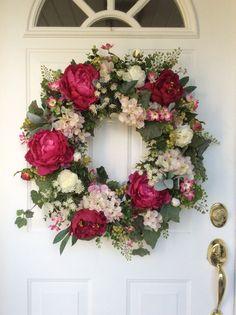 Spring Wreaths-Hydrangea Wreath-Valentine's Wreath-Spring Wreath for Door-Designer Wreath-French Country Decor- Wreath-Wedding Wreath Spring Wreaths-Hydrangea Wreath-Valentine's by ReginasGarden Wreath Crafts, Diy Wreath, Door Wreaths, Summer Wreath, Spring Wreaths, Hydrangea Wreath, Deco Floral, Wedding Wreaths, Valentine Wreath