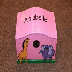 Items similar to Girls Toy and Keepsake Chest, Treasure trunk - pink and purple jungle theme with elephant and giraffe, great birthday gift on Etsy Giraffe, Elephant, Jungle Theme, Great Birthday Gifts, Toys For Girls, Toy Chest, Storage Chest, Purple, Pink