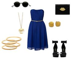 Perfect fall wedding outfit. Royal blue sleeveless dress paired with simple gold jewelry.