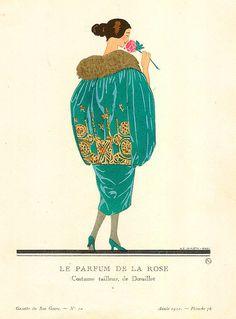 Marty's artwork titled Le Parfum De La Rose II presented by Artophile Art Deco Illustration, Fashion Illustration Vintage, Vintage Illustrations, Fashion Illustrations, Art Deco Artists, Harper's Bazaar, Estilo Art Deco, Art Deco Fashion, Fashion 1920s