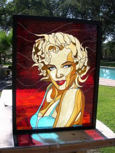 Marylin Monroe Stained Glass window hanging for Hollywood theme...Love Marilyn. She was so sleek and flawless herself just like the LG Black Stainless appliances.  #LGLimitlessDesign #Contest