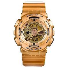 _New Men's Gold Sports Shock Resist Analog/Digital Watch