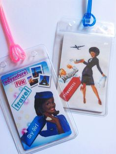 Set of two upcycled luggage tags   Vintage design by VintageCrew, $8.50
