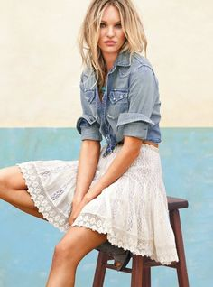 Love the blue jean jacket and skirt.