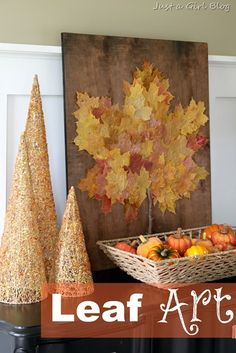 Leaf Art {Thanksgiving Art Project}and TONS of other ideas. Kids and/or volunteers would write on pretty scrapbook paper what they're thankful for. Hot glue to board?