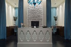 Spa Reception  silver and deep blue color palette