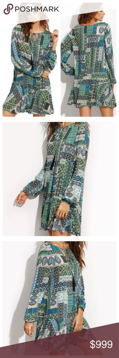 JUST IN: Patchwork Print Boho Tunic Dress 100% Rayon. Soft to the touch. Lightweight fabric for warm weather. Unlined. Long sleeved with elastic cuff. Patchwork print with shades of green and white.  Dresslength: above knee. Dress has a loose fit.  Please refer to size chart before ordering. Dresses Mini