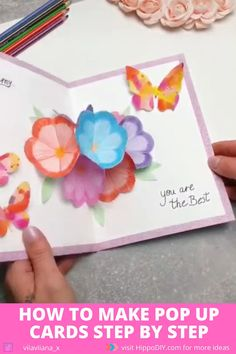 Birthday Card Pop Up, Creative Birthday Cards, Handmade Birthday Cards, Diy Birthday Cards For Mom, Origami Birthday Card, Pop Up Flower Cards, Pop Out Cards, Birthday Cards With Flowers, Pop Up Flowers