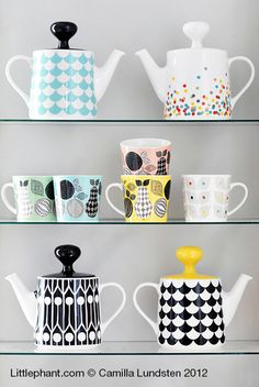 Cutest teapots by Littlephant. Especially the black&white teapot with yellow top would be perfect