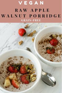 This grain-free easy healthy porridge recipe is delicious with all the toppings from cinnamon, apples, strawberries, coconut milk and more. Make this paleo-friendly and vegan breakfast. #savory #oatmeal Easy Porridge Recipes, Healthy Porridge Recipe, Clean Eating Breakfast, Vegan Breakfast, Breakfast Recipes, Top Recipes, Vegan Recipes Easy, How To Make Porridge, Savory Oatmeal