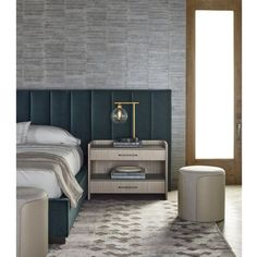 Shop the Tyson Modern Classic Brown Wood Grey Faux Leather Nightstand and other Nightstands at Kathy Kuo Home White Oak Wood, Brown Wood, Brass Console Table, India House, 2 Drawer Nightstand, Modern Side Table, Interior Design Services, Modern Classic, Storage Spaces