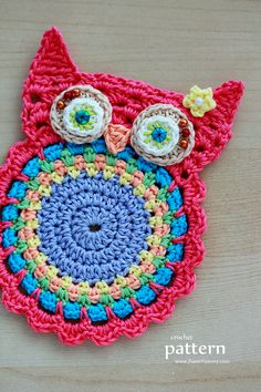 New Pattern – Crochet Owl Coasters (Appliques) I don't even crochet but how cute.