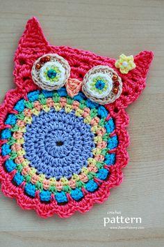 New Pattern – Crochet Owl Coasters (Appliques) ♡ •✿• Teresa Restegui http://www.pinterest.com/teretegui/ •✿•
