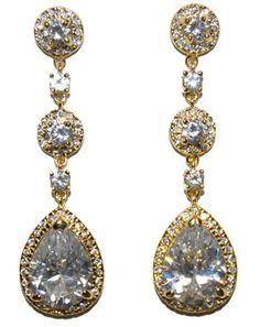 Amberly Clear Pear Drop Halo Dangle Chandelier Earrings | Cubic Zirconia | 18k Gold