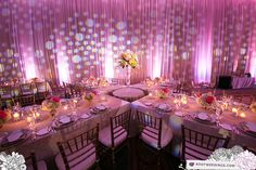 Banquet table reception decor (Design by Lee Forrest Design, photo by: Root Weddings)