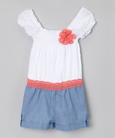 Loving this White & Blue Lace Puff-Sleeve Romper - Toddler & Girls on #zulily! #zulilyfinds