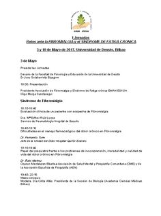 """I Jornadas: """"Retos ante la Fibromialgia y el Síndrome"""""""