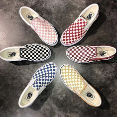 Vans Classic Checkerboard Slip-On In Bleached Apricot - - shoes - Schuhe Vans Sneakers, Vans Converse, Slip On Sneakers, Vans Shoes Outfit, Women's Slip On Shoes, Sock Shoes, Cute Shoes, Me Too Shoes, Shoe Boots
