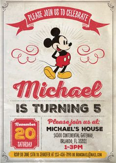Disney Vintage Style Mickey Mouse 5x7 in. Birthday Party Invitation - Instant Download and Edit with Adobe Reader