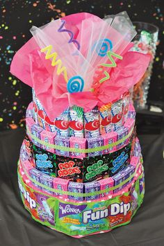 in the Neon Birthday Party Awesome candy cake (would be great for those who don't like cake too!)Awesome candy cake (would be great for those who don't like cake too! 80s Birthday Parties, 80th Birthday, Friend Birthday, Birthday Quotes, Candy Theme Birthday Party, Glow Party, Candy Party, 80s Candy, Candy Land
