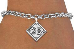 Baseball Softball Second Base Bracelet  - Silver Chain Bracelet w Silver Charm