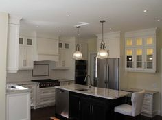 White Custom Kitchen Cabinets with Granite