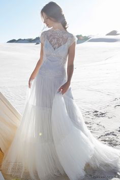 rembo styling #bridal 2015 #wedding dress illusion neckline lace cap sleeves #weddings #weddingdress
