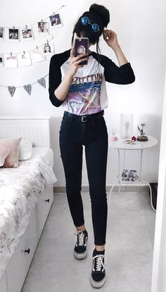 """Sunglasses with """"Led-Zeppelin"""" tee, black pants & Vans shoes by deaddsouls"""