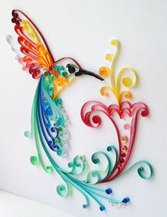 Quilling Art: Bird of Happiness Colourful Paper by BestQuillings                                                                                                                                                                                 Mais