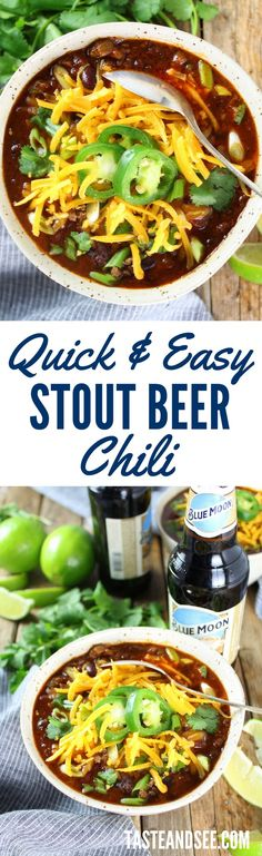 Stout Beer Chili - rich & hearty, a touch of sweet.  Stout beer, kidney beans, ground beef, molasses, & brown sugar. http://tasteandsee.com