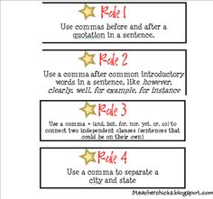 great activity to teach commas. let the students find 3 examples of commas used by authors then have them make up the rule why the comma is required. have students teach the class and then go over the 7 comma rules!