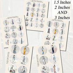 JANE AUSTEN'S WORLD -- REGENCY FASHIONS PRINTABLES, EXTRA LARGE CIRCLES-- Images,Digital,Stickers,Collage,Illustration,jane austen,2 inch,3 inch,la belle assemblee,regency fashion,ackermann,repository