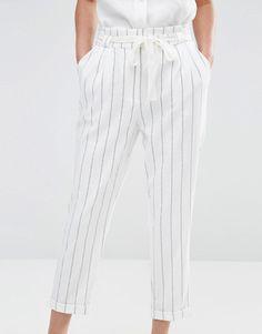 Image 3 - Oasis - Pantalon carotte taille haute à rayures Pantalon Carotte  Femme fbddf9e7df4