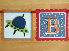 Rocket Spaceship Outer Space Birthday Party Shower Banner Sign Blue Red Green Orange