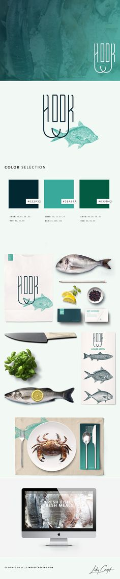 Hook Seafood Restuarant Brand Identity by Lindsey Created | www.lindseycreated.com | #Branding | Fish Market