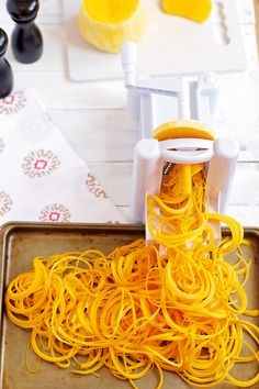 Butternut Squash Pasta- spiralized butternut squash! SO easy and SO yummy!! │ bbritnell.com